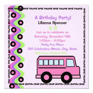 School Bus Wheels Pink 13 Cm X 13 Cm Square Invitation Card