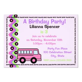 School Bus Wheels Pink 13 Cm X 18 Cm Invitation Card