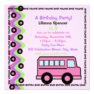 School Bus Wheels Pink Personalized Invite