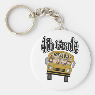 School Bus with Kids 4th Grade Keychains