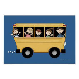 School Bus with Kid's & Driver Poster Print D2
