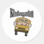 School Bus with Kids Kindergarten Round Sticker