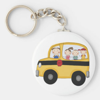 School Bus with Kids T-shirts and Gifts Basic Round Button Key Ring