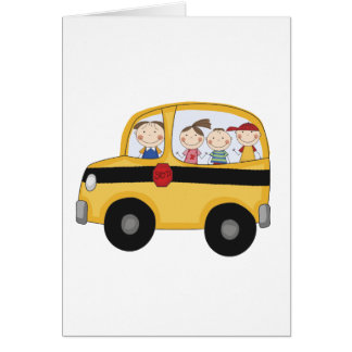School Bus with Kids T-shirts and Gifts Greeting Card