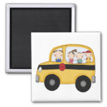 School Bus with Kids T-shirts and Gifts Fridge Magnets