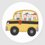 School Bus with Kids T-shirts and Gifts Round Sticker