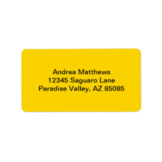 School Bus Yellow Solid Color Address Label