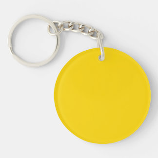 School Bus Yellow Solid Color Double-Sided Round Acrylic Key Ring