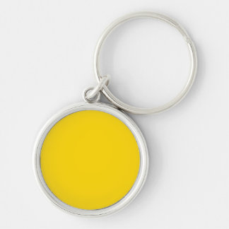 School Bus Yellow Solid Color Silver-Colored Round Key Ring