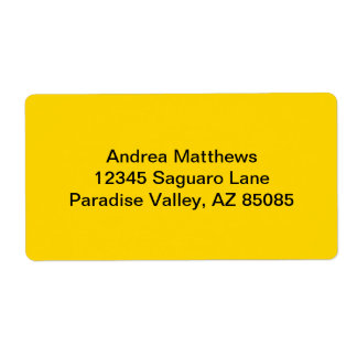 School Bus Yellow Solid Color Shipping Label