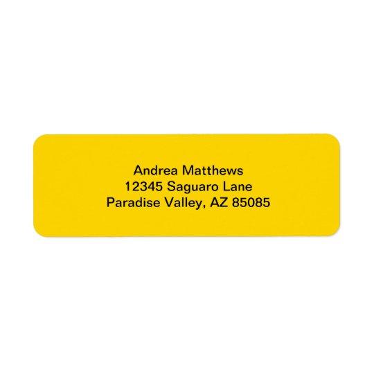 School Bus Yellow Solid Colour Return Address Label