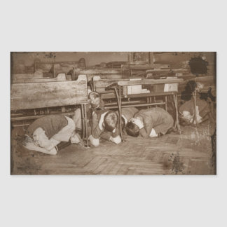 School Children and Air Raid Rectangular Sticker