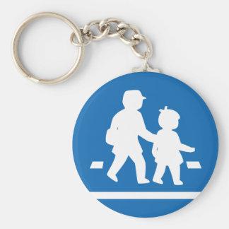 School Children Crossing >> Japanese Traffic Sign Basic Round Button Key Ring
