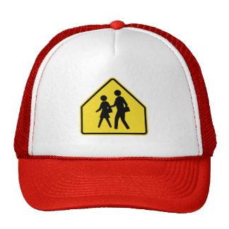 School Children Crossing,Traffic Warning Sign, USA Trucker Hats