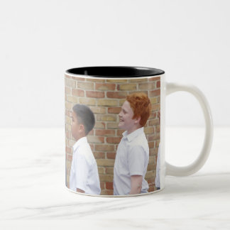 School children lining up in the playground for Two-Tone coffee mug