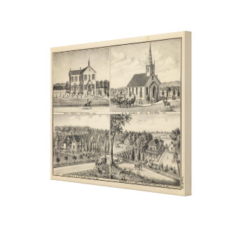 School, church, residences, Yolo Co Canvas Print