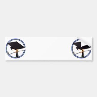 School Colors Blue & Gold Grad Cap w/Diploma Bumper Sticker
