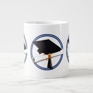 School Colors Blue Gold Grad Cap w Diploma Jumbo Mugs
