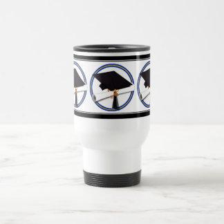 School Colors Blue & Gold Grad Cap w/Diploma Stainless Steel Travel Mug