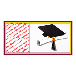 School Colors Gold & Red for The Graduate Personalized Photo Card