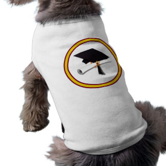 School Colors Gold & Red for The Graduate Sleeveless Dog Shirt