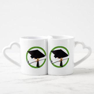 School Colors Green & Gold Grad Cap w/Diploma Lovers Mug