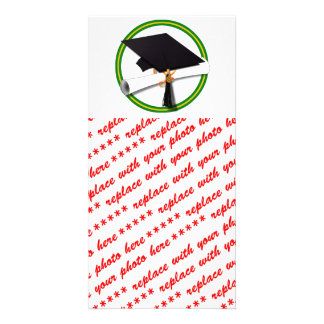 School Colors Green & Gold Grad Cap w/Diploma Picture Card