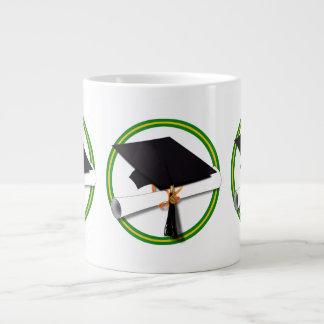 School Colors Green Gold Grad Cap w Diploma Extra Large Mugs