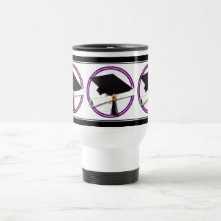 School Colors Purple Gold Grad Cap w Diploma Coffee Mug
