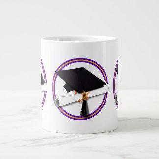 School Colors Purple & Gold Grad Cap w/Diploma Jumbo Mug