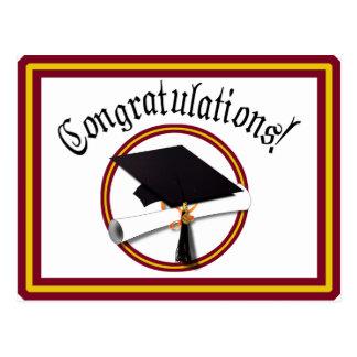 School Colors Red & Gold Grad Cap w/Diploma Postcard