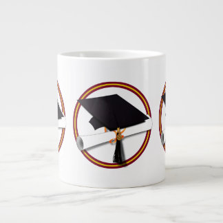 School Colors Red & Gold Grad Cap w/Diploma Extra Large Mug