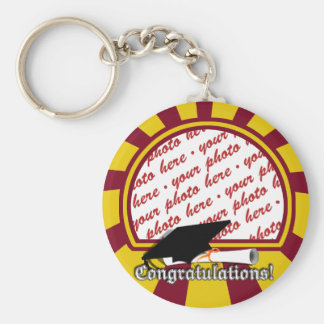 School Colors Red & Gold Graduation Photo Frame Keychain