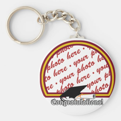 School Colors Red & Gold Graduation Photo Frame Key Chain