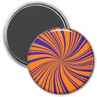 School Colors Twirl Magnet, Orange-Blue 7.5 Cm Round Magnet