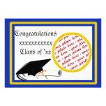 School Colours  Blue & Gold Graduation Frame Personalized Invitation