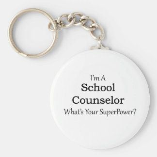 School Counselor Basic Round Button Key Ring