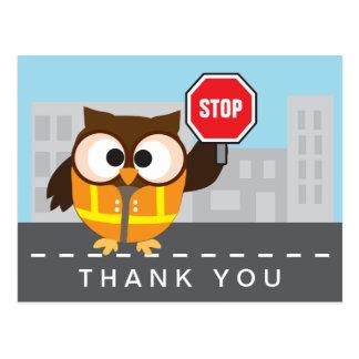 School Crossing Guard Cute Owl Thank You Postcard
