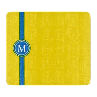 School Days Green Blue Stripe Monogram on Yellow Cutting Board
