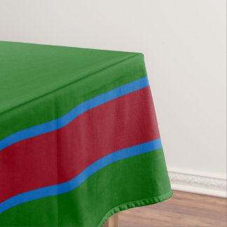 School Days Green With Red and Blue Stripe Tablecloth