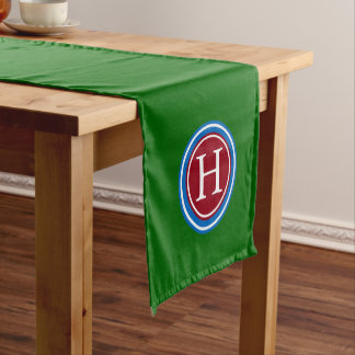 School Days Green Wuth Blue and Red Monogram Short Table Runner