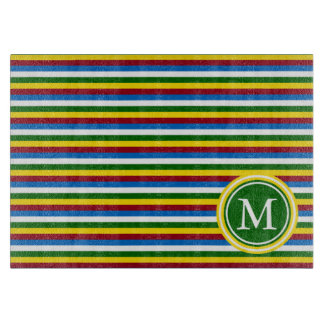 School Days Palette Stripes Monogram Cutting Board
