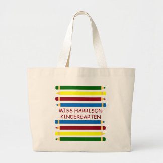 School Days Pencils Personalized Large Tote Bag