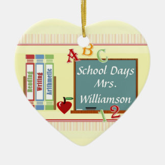 School Days Personalized Teacher Heart Ornament