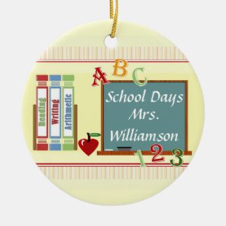 School Days Personalized Teacher Round Ornament