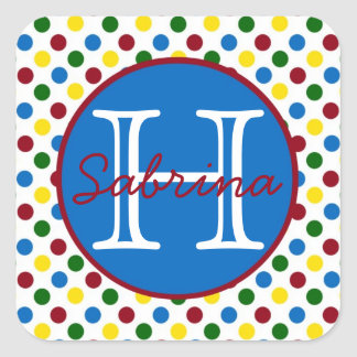 School Days Polka Dots Monogram Stickers