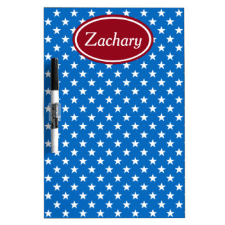 School Days Red and Blue Stars Personalized Dry Erase Board