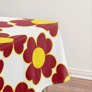 School Days Red and Yellow Heart Flowers Tablecloth
