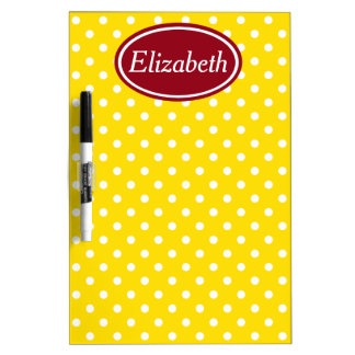 School Days Red and Yellow Polka Dot Personalized Dry Erase White Board