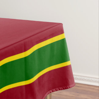 School Days Red With Green and Yellow Stripe Tablecloth